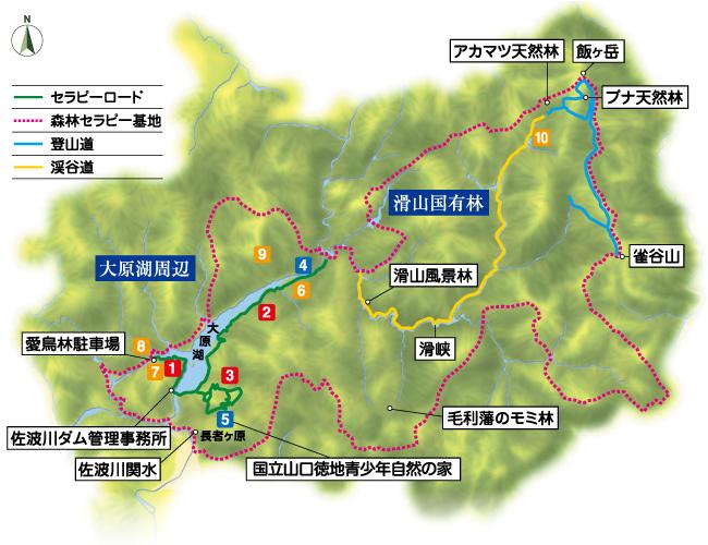 山口市徳地森林セラピー基地マップ